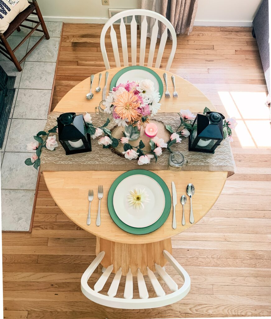 Overhead of my pretty, spring tablescape.