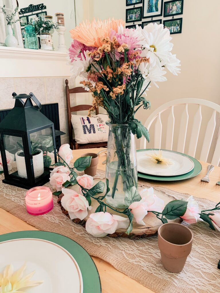 Fresh flowers on a spring tablescape