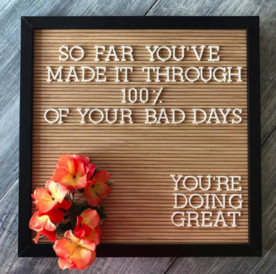 Encouraging letter board quote