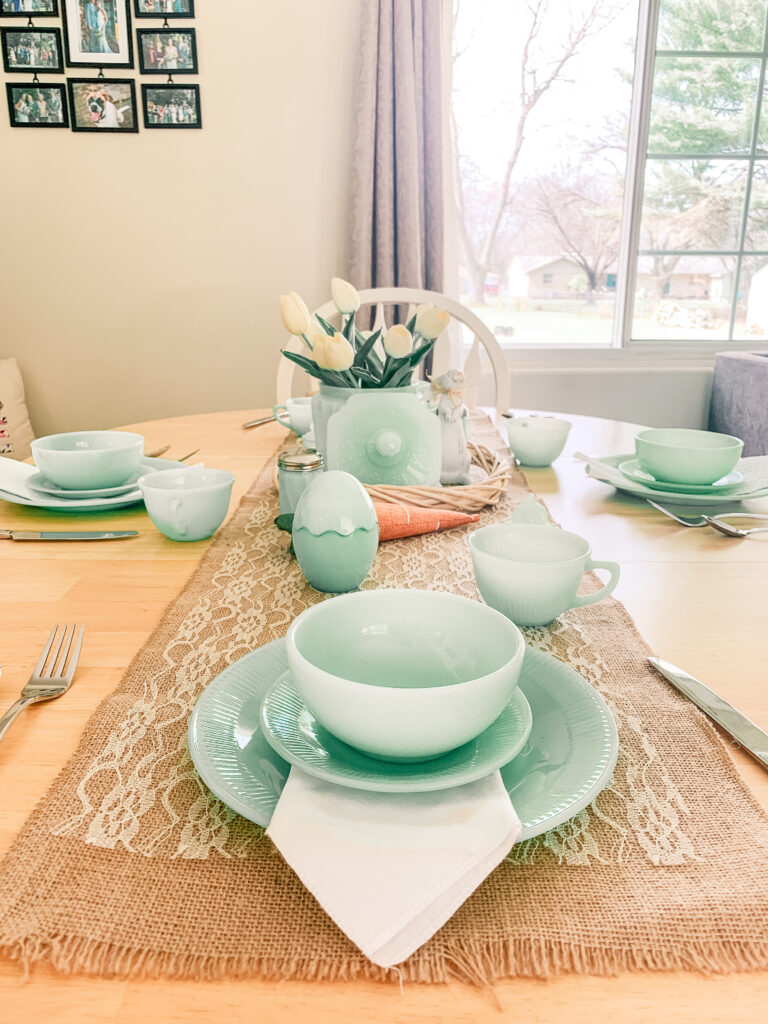 Easter Tablescape Using Jadeite